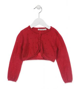 Red bolero cardigan with plastic buttons.