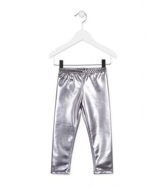 Silver faux-leather leggings.