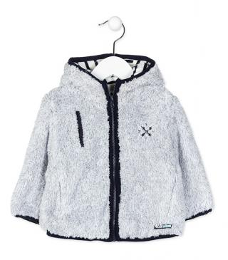 Furry fleece hoodie with embroidery.