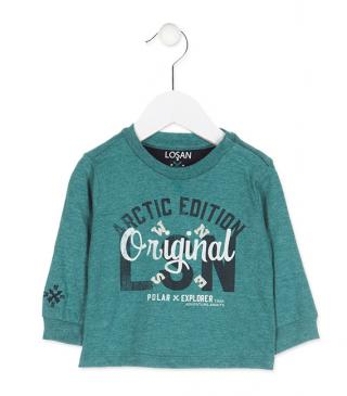 Long sleeve tee with cardinal direction embroidery.