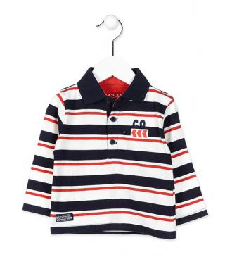 Long sleeve polo in stripe pattern with chest embroidery.