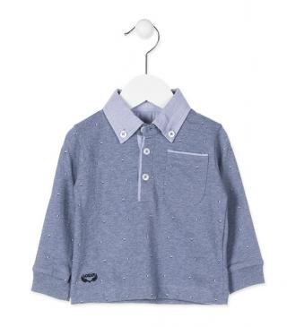 Long-sleeved polo with tailoring fabric on the collar.