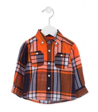 Long sleeve cotton shirt in checked pattern.