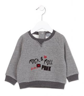Crew neck plush sweatshirt with jacquard.