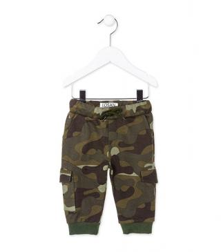 Camo print plush trousers.