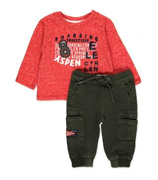 Patch tee and multi-pocket trousers set.