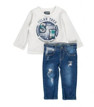 Patch tee and denim trousers set.