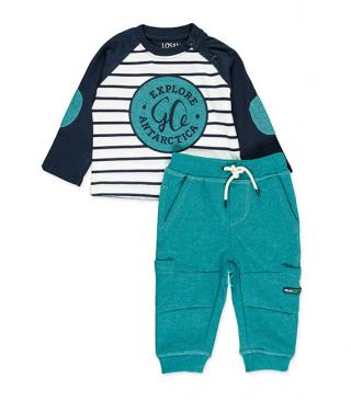 Tee with elbow patches and plush trousers set.