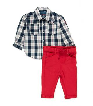 Set including a blue checked shirt and trousers.