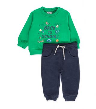 Set of green sweatshirt and trousers in plush fabric.