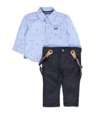 Set of blue shirt and embellished trousers.
