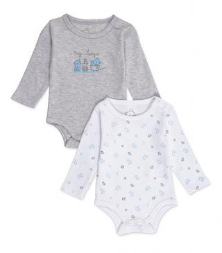 Print cotton bodysuit 2-pack.