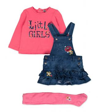 Embroidered dungaree, t-shirt and leggings set.