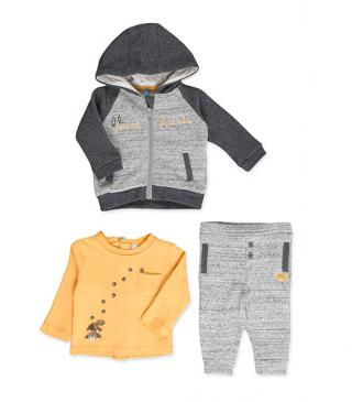 Grey set including jacket, trousers and tee.