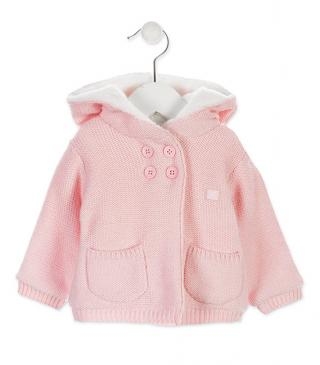 Pink knit cardigan with hood.