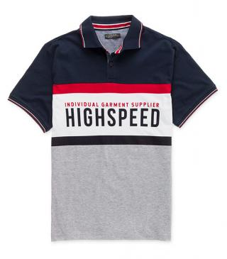 Front text print polo shirt.