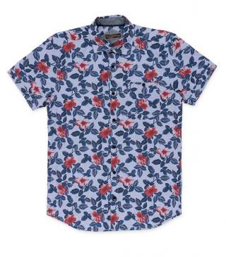 Blue check shirt with floral print.