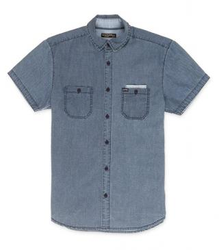 Navy blue printed short sleeve shirt.
