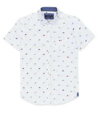 White multicolor sneakers print shirt.