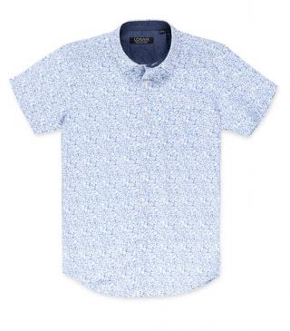 Blue shirt with white leaf print.