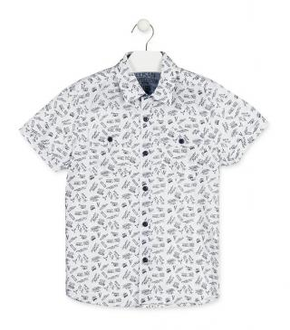Camisa de popelín de color blanco estampada.