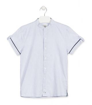 White poplin mandarin collar shirt.