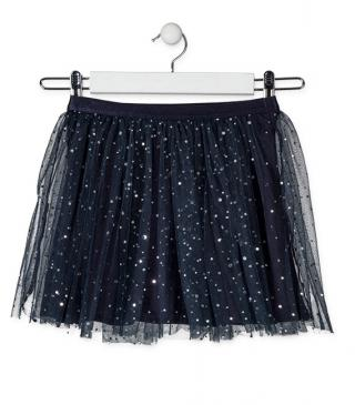 Blue tulle skirt.