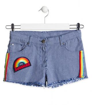 Short in tessuto jeans a righe.