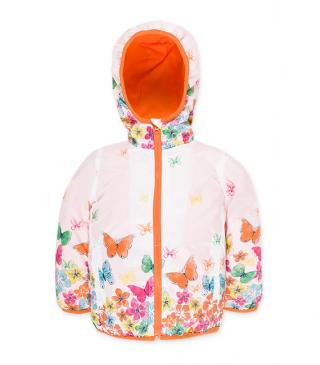 Flower and butterfly motif jacket in white.