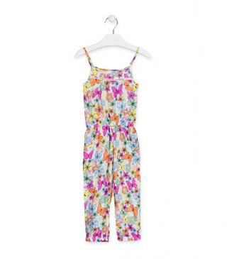 Flower and butterfly print full-length overall.