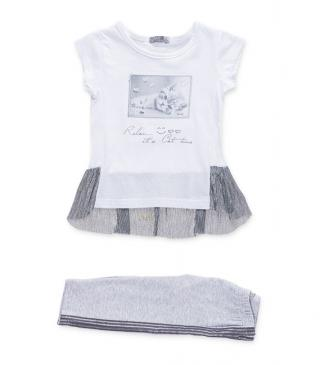 Set including t-shirt finished with contrast tulle and leggings.