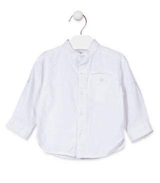 Long sleeve mandarin collar linen shirt.