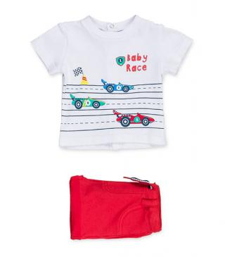 Printed car motif t-shirt & shorts set.