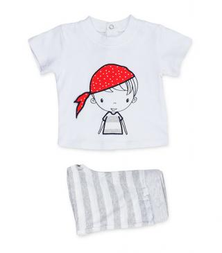 Striped shorts & pirate motif t-shirt set.