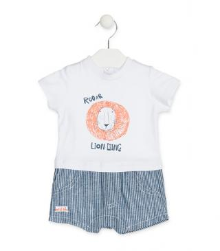 Romper topped with printed lion motif.