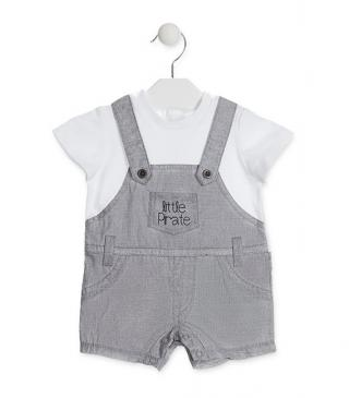 Mock-dungaree romper with poplin bottom and mock tee.