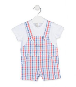 Mock-dungaree romper in check pattern, with mock tee.
