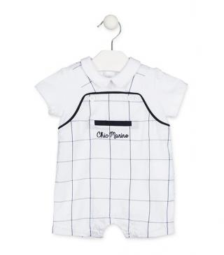 White romper with checked dungaree insert.