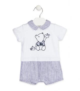 Bear embroidery romper with a linen bottom.