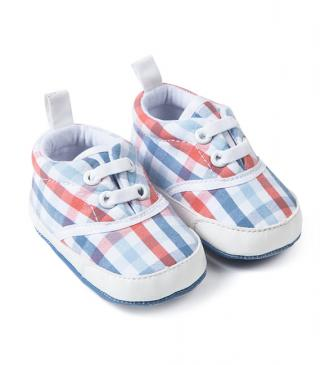 Checked cotton trainers.