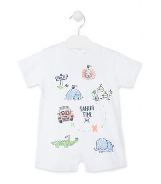 White cotton onesie with animal motifs.