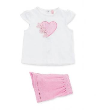 151a25aa72fc5 Voile shorts & tee set featuring jacquard finish.