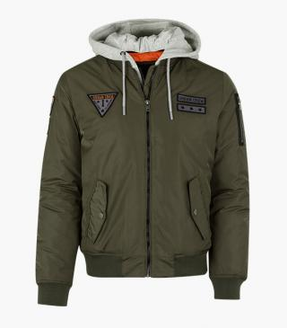Bomber jacket in green.