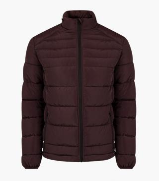 Quilted jacket with a concealed hood at the collar.