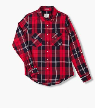 Red check shirt.