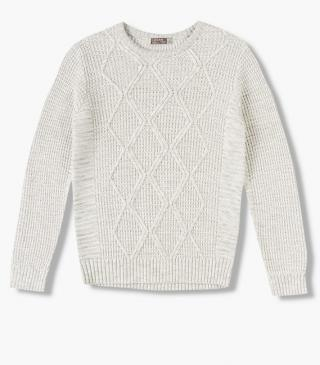 Cable knit front jumper in cotton.