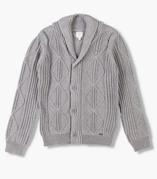 Knit cardigan with lapel collar.