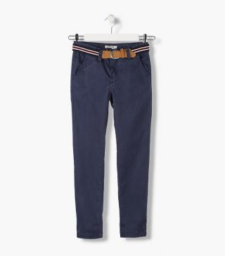 Twill trousers with belt.