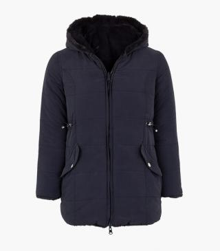 Parka di colore blu double-face.