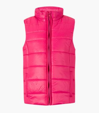 Vest with a concealed hood.